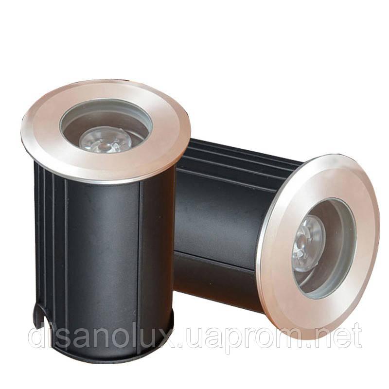 Грунтовый светильник  QL-11  LED 3W  220V размер 42мм х 75мм  2700K IP65