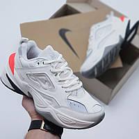 Женские кроссовки Nike M2 Tekno кожаные белые/оранжевые ( точная копия )