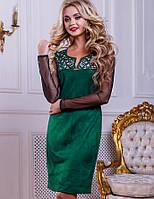 Женское замшевое платье с рукавами из сетки (2447-2449-2448 svt)