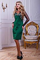 Женское замшевое платье с рукавами из сетки (2447-2449-2448 svt), фото 2
