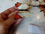 3D метелики з подвійними крилами для декору штор, на стіну холодильник, шафа Білі (26432), фото 3