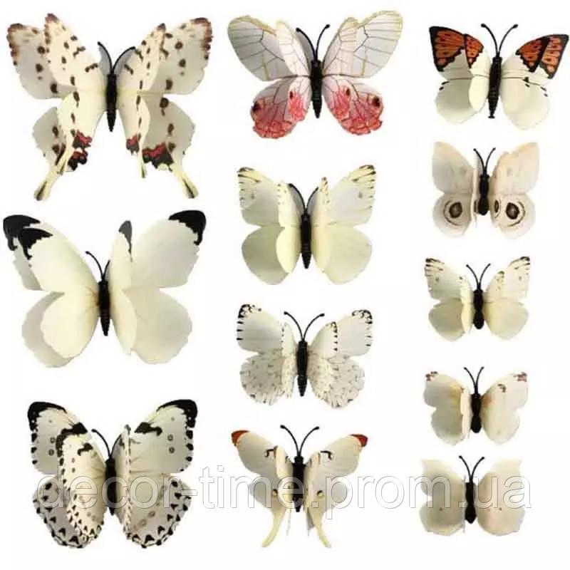 3D метелики з подвійними крилами для декору штор, на стіну холодильник, шафа Білі (26432)