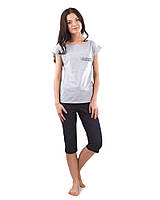 Пижама женская с футболкой и капри (XS-3XL)