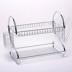 Сушилка для посуды Kamille двухъярусная 55*24,5*36 см (хромированная сталь)