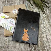 """Обложка на паспорт ручной работы """"Рыжий кот"""""""