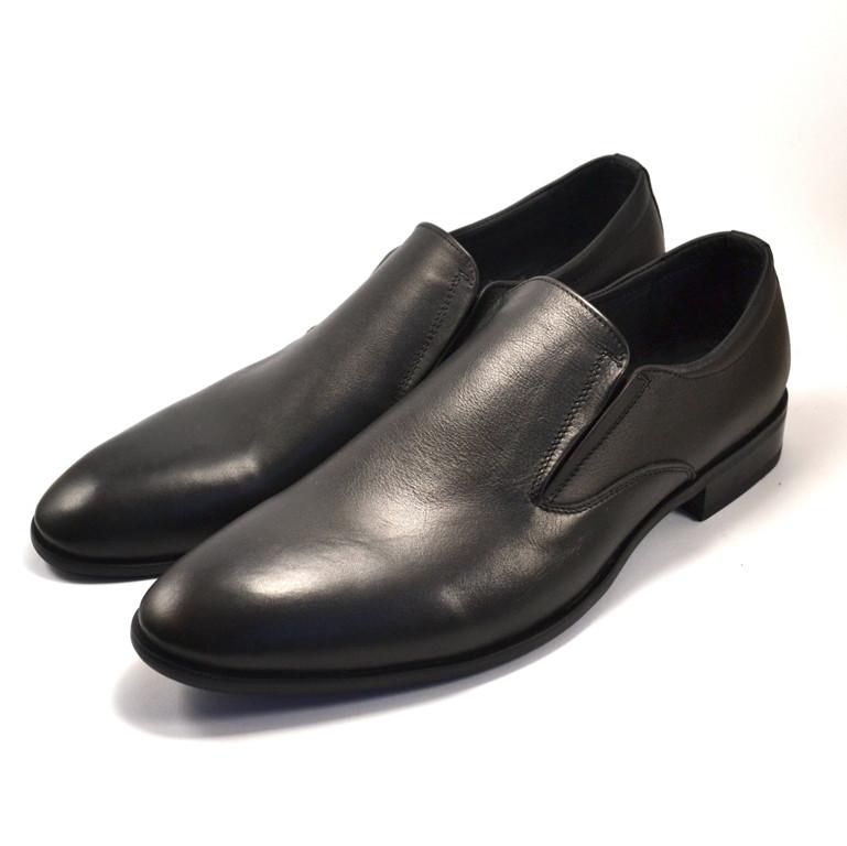 Туфли лоферы мужские большого размера кожаные черные без шнурков на ризинках Rosso Avangard BS Mono