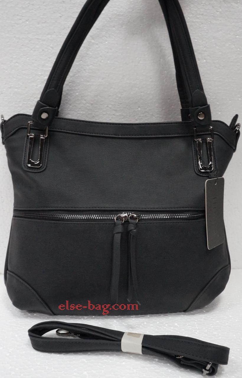 2436fd7fa881 Черная женская сумка с горизонтальной змейкой -