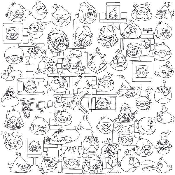 обои раскраски Angry Birds 60 60 C 60001