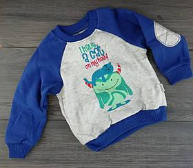 Джемпер для хлопчиків Котик на голові Сірий/синій Трикотаж Бембі Україна 92 см, 18 місяців, 52 см