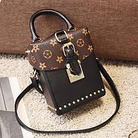 Маленькая женская сумка Бочонок в стиле LOUIS VUITTON черная