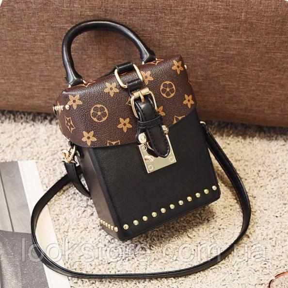 2fae14968e32 Маленькая женская сумка Бочонок в стиле LOUIS VUITTON черная -  LookStore.com.ua в