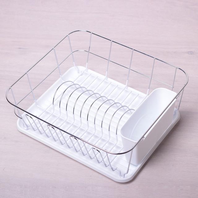 Сушилка для посуды 37*33*13,5 см Kamille одноярусная из хромированной стали с поддоном (белый)