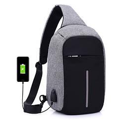 Сумка через плече Mark Ryden с USB разъёмом. Мини рюкзак Mark Ryden. Серый.