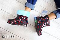 MY1268PRA Детские резиновые сапожки «LED Star» (Черные)