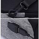 Сумка через плече Mark Ryden с USB разъёмом. Мини рюкзак Mark Ryden. Серый., фото 2