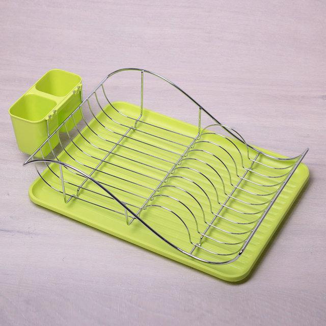 Сушилка для посуды 52*32*13 см Kamille одноярусная из хромированной стали с поддоном (зеленый)