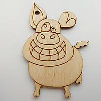 Новогодняя деревянная елочная игрушка заготовка Свинка_улыбка до ушей