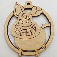 Новогодняя деревянная елочная игрушка заготовка Свинка_улыбка до ушей_круг