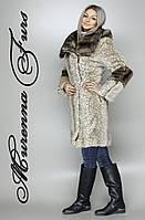 Женская шуба из искусственной норки, бежевый леопард № 46