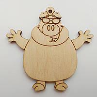 Новогодняя деревянная елочная игрушка заготовка Свинка в очках