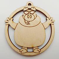 Новогодняя деревянная елочная игрушка заготовка Свинка в очках_круг