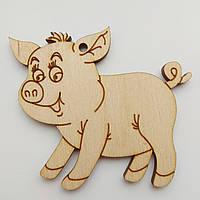Новогодняя деревянная елочная игрушка заготовка Свинка с чубчиком