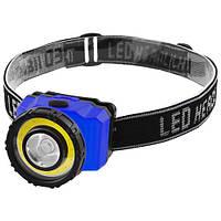 Фонарь на лоб пластик T838-COB(3W)+LED(1W), 3xAAA