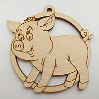 Новогодняя деревянная елочная игрушка заготовка Свинка с чубчиком_круг