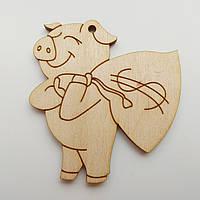 Новогодняя деревянная игрушка заготовка Свинка с мешком, фото 1