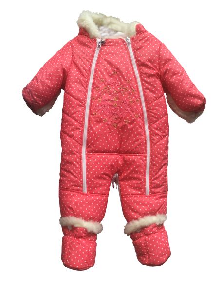 Зимний детский принтованный комбинезон