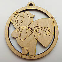 Новогодняя деревянная игрушка заготовка Свинка с мешком_круг, фото 1