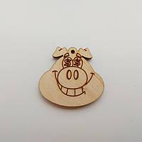 Новогодняя деревянная елочная игрушка заготовка Голова свинки_Доллары_мал.