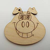 Новогодняя деревянная елочная игрушка заготовка Голова свинки_Доллары_больш.