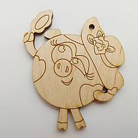 Новорічна дерев'яна ялинкова іграшка заготовка Свинка Смішарики, фото 1