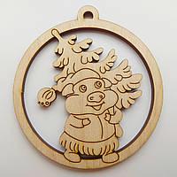 Новогодняя деревянная елочная игрушка заготовка Свинка с елкой_круг