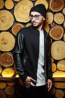 Мужская кожанка куртка черная с замшей, фото 1