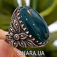 Серебряное кольцо с марказитами и зеленым агатом - Кольцо капельное серебро с зеленым агатом, фото 6