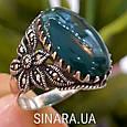 Серебряное кольцо с марказитами и зеленым агатом - Кольцо капельное серебро с зеленым агатом, фото 5