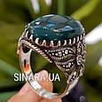 Серебряное кольцо с марказитами и зеленым агатом - Кольцо капельное серебро с зеленым агатом, фото 4