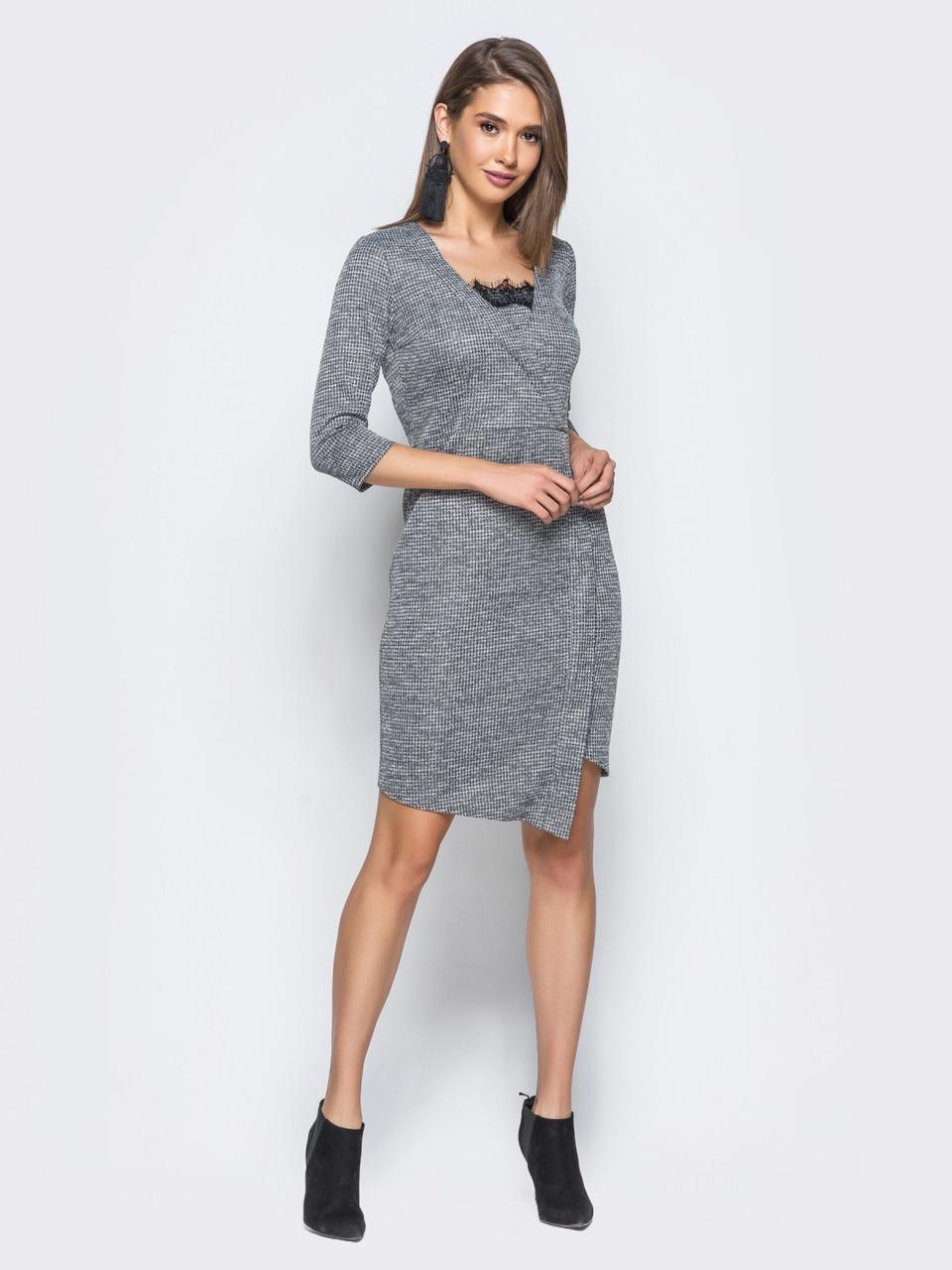 Стильное женское трикотажное платье с кружевом р.44  продажа, цена в ... 88dc7cd2146