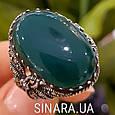 Серебряное кольцо с марказитами и зеленым агатом - Кольцо капельное серебро с зеленым агатом, фото 3