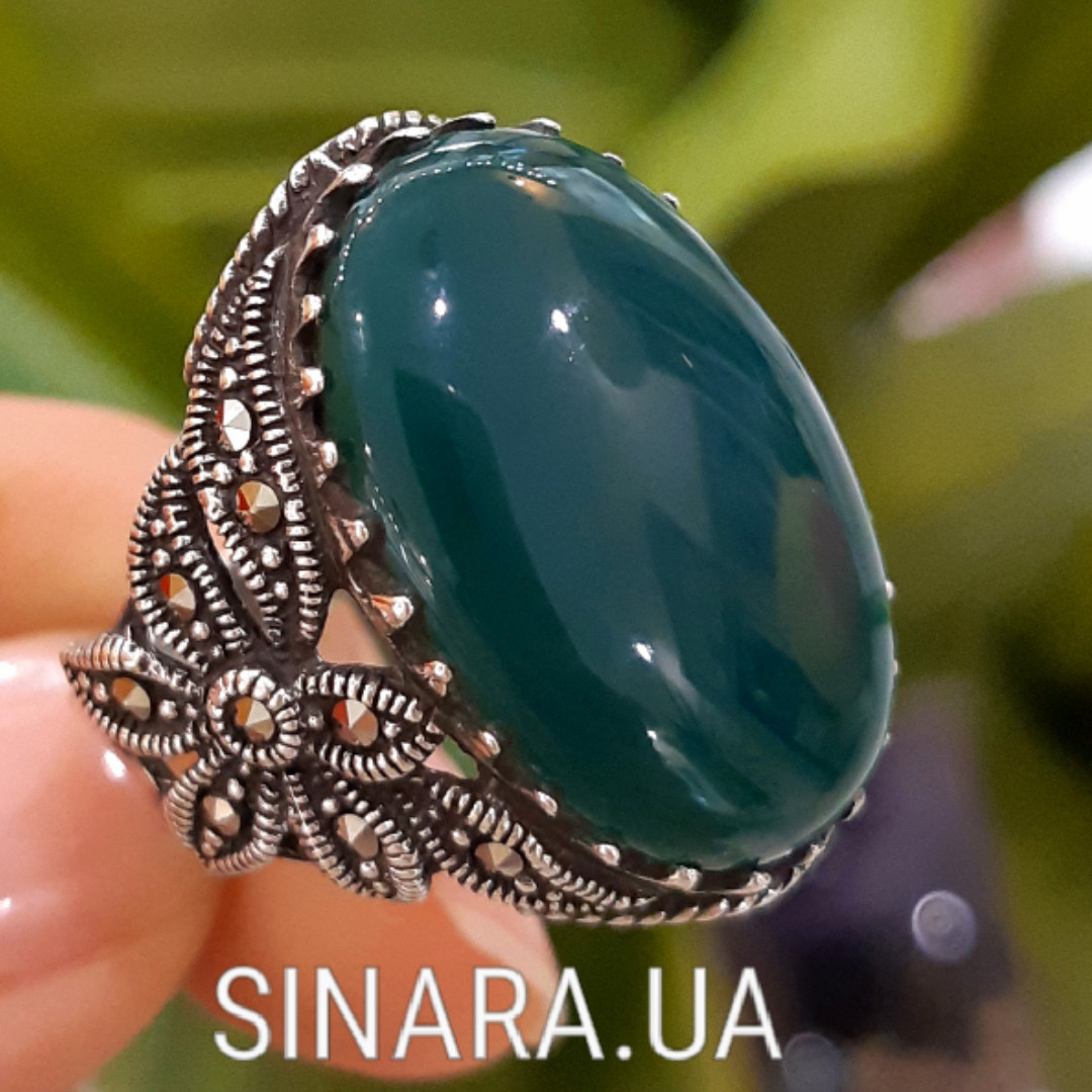 Серебряное кольцо с марказитами и зеленым агатом - Кольцо капельное серебро с зеленым агатом