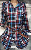 Рубашка-туника в клетку байковая женская, фото 1