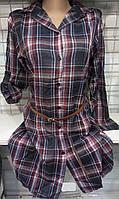 Рубашка-туника в клетку байковая женская