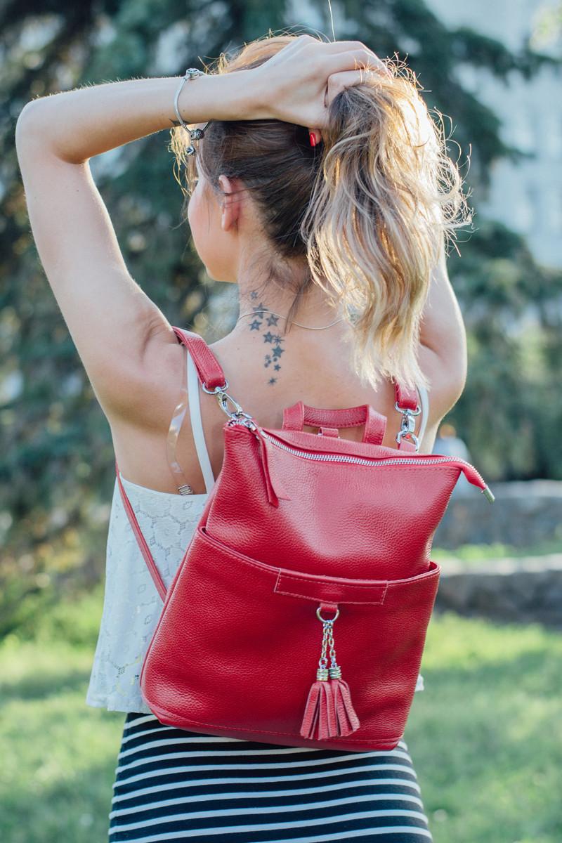 Городской рюкзак-трансформер кожаный 05 красный флотар 02050107