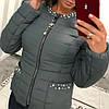 Женская куртка из плащевки с декором в расцветках. В-2-0918, фото 5