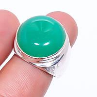 Зеленый оникс кольцо с камнем оникс в серебре 17.25-17.5 размер Индия, фото 1