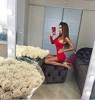 Сексуальное молодежное платье один рукавчик красное, фото 1