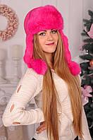 Женский головной убор из яркого натурального кроличьего меха  №420-01