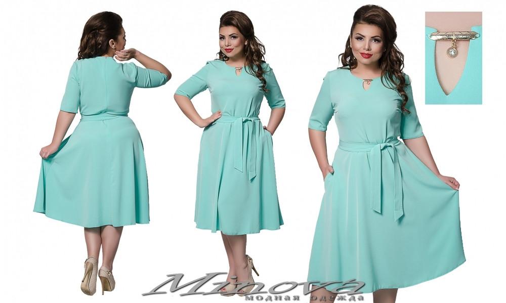 Платье женское юбка клеш стрейч-креп в горох размер 48- 54